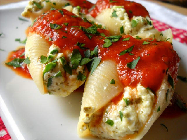 three cheese stuffed shells with creamy white sauce stuffed shells ...